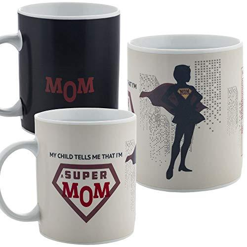 InGwest. Funny Coffee Mug for Super Mom. Best Mom Ever. 11 ounce. Changing Color Mug. Ceramic Heat Sensitive Color Changing Mug. Novelty Heat Sensitive Mug