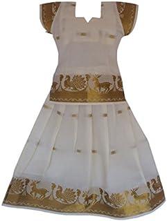 Pkd Girls Ethnicwear Pattupavada Cream