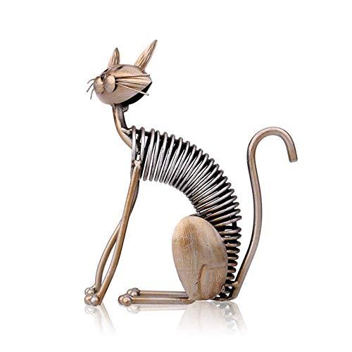 Escultura LONGWDS Decoraciones de la Estatua del Arte del Arte de Metal Forjado Gato Hierro Estatua casa 2 Adornos