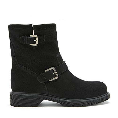 La Canadienne Hayes - Women's Luxury Handmade Italian Casual Black Waterproof Suede Flat Heel Bootie (numeric_6)