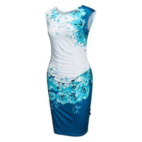 YKARITIANNA Womens Girls Vintage Boho 2019 Summer Sleeveless Beach Printed Short Mini Dress Blue