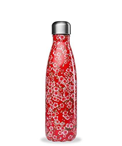 QWETCH - Bouteille Isotherme INOX 750ml - Maintient Vos Boissons au Chaud Pendant 12 Heures & au Frais Pendant 24 Heures – BPA Free - Flowers Rouge