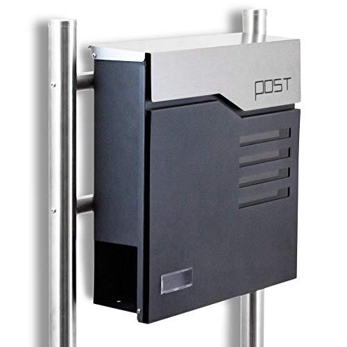 BITUXX® Design Standbriefkasten 16772 Briefkasten Briefkastenanlage Freistehender Postkasten mit Zeitungsfach Anthrazit Graphit Edelstahl