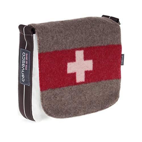 Segeltuchtasche CANVASCO Mini Suisse/Segel weiß/Gurt braun-weiß/Armeedecke horizontal