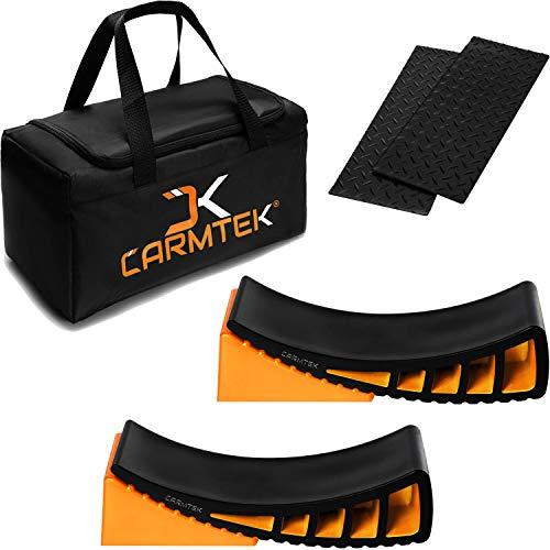 CARMTEK Camper Leveler Premium Kit - Curved RV Levelers with Camper Wheel Chocks, Rubber Mats and Carry Bag | Faster Camper Leveling Than RV Leveling Blocks