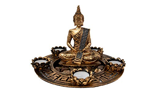Buddha Teelicht Set Figur Kerzenhalter Schale Tischdeko Wohnzimmer Spirituelle Zen Deko Teelichthalter Golden 27x27x20 cm