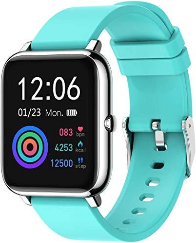 Smartwatch Fitness Tracker Uhr Armbanduhr Schrittzähler Blutdruckmessung Uhr Pulsuhr Wasserdicht Schlafmonitor Stoppuhr SMS-Anruf Jugendlichen Damen Herren IOS Android (Türkis)