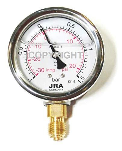 """JRA-Longlife-Glyzerin-Manometer -1/+1,5 bar/psi NG63 Anschluss unten G1/4"""""""