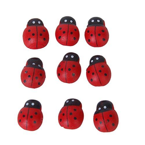 Kingken Environ 100 pcs Mini Bois Coccinelle éponge Autocollant Coccinelle Autocollant pour l'artisanat Décoration (Rouge)