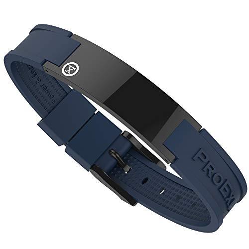 PROEXL Best Sports Golf Magnetic Bracelet Carbon Dark Black with Blue Strap Waterproof