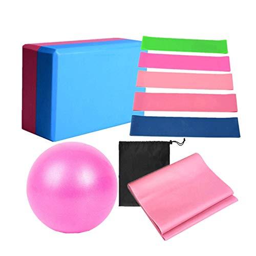 PUTAOYOU El juego de yoga incluye bola de yoga, bloque de yoga, tirador de tobillo, bola de pilates, kit de banda de bucle de resistencia de estiramiento con bolsa de almacenamiento para yoga, pilates