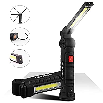 Cordless Led Work Light, JIRVY Portable Rechargeable COB Led Flashlight 700Lm 3W Flood Light Torch with Magnetic Stand for Car Repairing, Workshop, Garage, Camping, Emergency Lighting