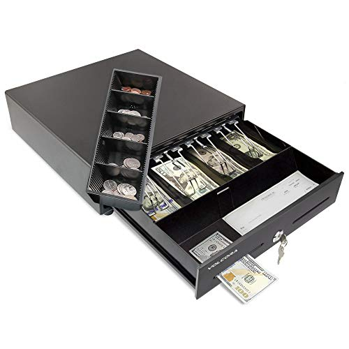 Mini Cash Register Drawer for Point of Sale (POS) System with 4 Bill 5 Coin Cash Tray, Removable Coin Compartment, 24V, RJ11/RJ12 Key-Lock, Media Slot, Black - for Stores, Shops, and Businesses