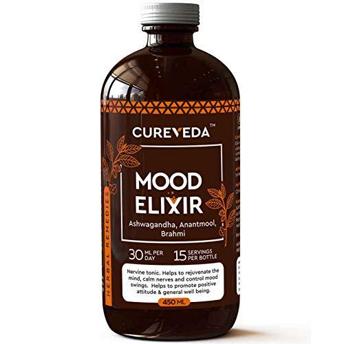 Cureveda™ Herbal Mood Elixir (Ashwagandha, Anantmool, Brahmi) Brain & Memory Health 450ml Syrup