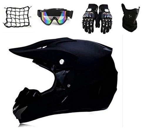 Motocross Helm Kinder,Fullface MTB Helm Pocket Bike Helm Motorradhelm Set, mit Handschuhe,Sturmmaske, Brille,Motorrad netz, für Enduro ATV Downhill Sicherheit Schutz (M)