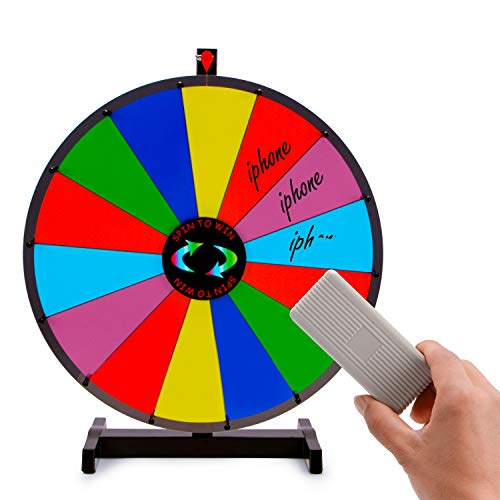 T-SIGN 24 Inch Heavy Duty Prize Wheel Spinning, Tabletop 14 Slots Color Prize Wheel Spinner with Dry Erase Marker and Eraser for Carnival and Trade Show, Win The Fortune Spin Game