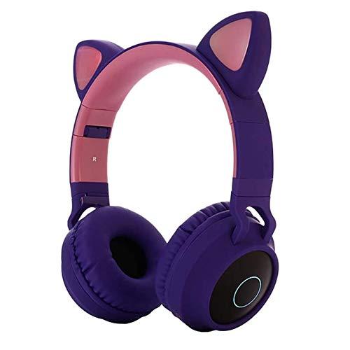 SUXINGJUAN Cat Ear-koptelefoon Bluetooth 5.0 Stereo Kids Girls Games Draadloze opvouwbare koptelefoon, LED-koptelefoon met microfoon