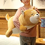 Shiba Inu Plush Pillow,Soft Corgi Stuffed Animals Toy Cute Sleeping Puppy Doll Gifts for Kids (Smiling Eyes, 29.5 inch)