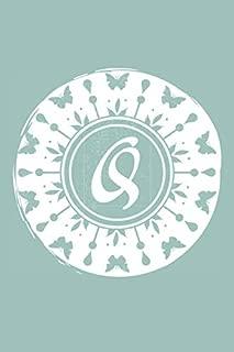 Q: Initial Q Monogram Notebook Journal Gift Pale blue Butterfly Circle design (Beautiful Butterflies Monogram Journals)