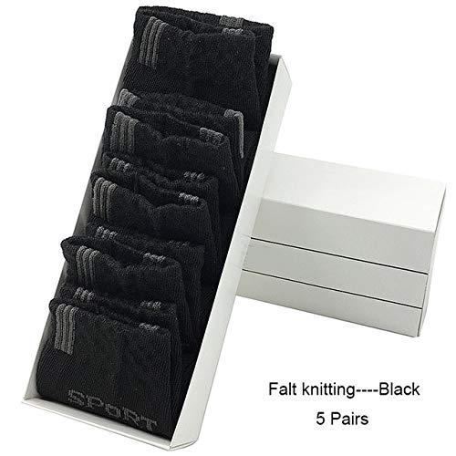 Calcetines de algodón para Hombres Calcetines Deportivos Suaves para Hombres 5 Pares/MuchosCalcetines Deportivos-Black-EU 39-43