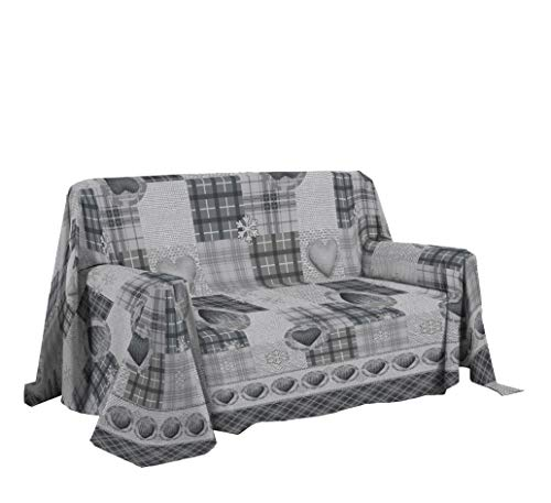 PENSIERI DELICATI Sofabezug 180 x 290 cm Made in Italy, Stoffdecken 100prozent Reine Baumwolle, Fantasie Berg Grau, Perfekt als Sofaüberwurf, Sofa Cover oder Tagesdecke (Singlebett)