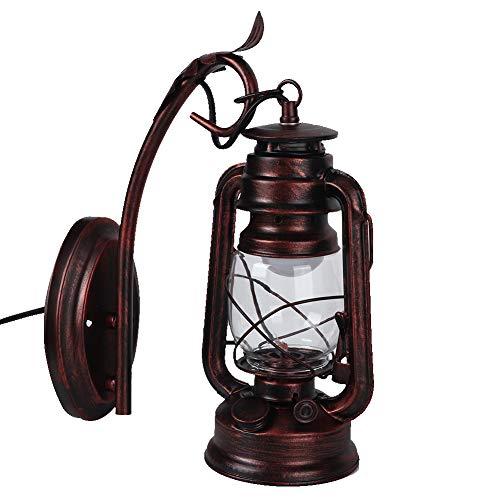 XINL Aplique de Pared, lámpara de Farol de Pared Rojo Oscuro de Estilo Industrial Decorativo Interior de Hierro, para Hallway Cafe