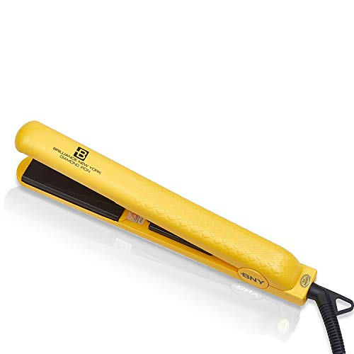 Brilliance New York - 1.25 Inch Diamond Ceramic Flat Iron - 2 in 1 Hair Straightener and Curler - Frizz-Free and Anti-Static Ionic Plates - Dual Voltage Flat Iron for Travel (Yellow)