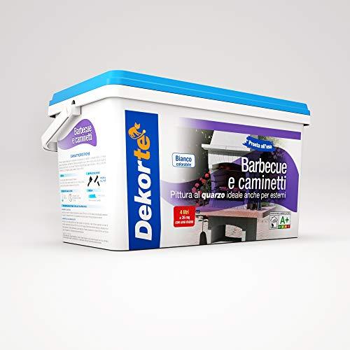 GDM Dekortè - Pintura al cuarzo para exteriores, para barbacoas y chimeneas, color: blanco, 4L