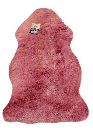 Reissner Lammfelle Schaffell Finn Naturform hoch-/langfloriger Teppich Couchauflage Bettvorleger (95cm auf der Lederseite entspricht ca. 115cm diagonal Fellseite) rosa 95cm