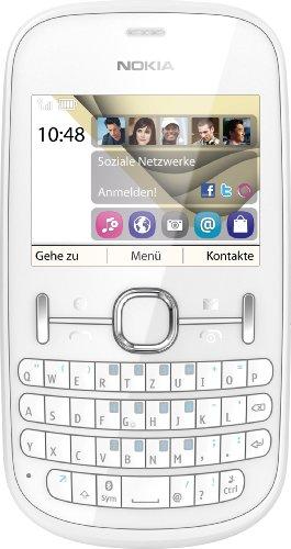 Nokia Asha 201 Handy (6,1 cm (2,4 Zoll) Bildschirm, 2 Megapixel Kamera, QWERTZ-Tastatur) pearl weiß
