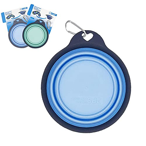 Comedero Plegable para Mascotas, Cuenco portatil para Perro y Gatos, Plato Viaje para Mascotas, tazón de Agua (Talla S Azul)