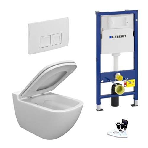 Geberit Vorwandelement + Ference WC + Drückerplatte + WC-Sitz Delta50