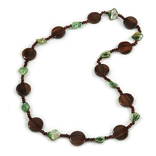 Avalaya - Collana con ciondolo a forma di moneta in legno marrone e conchiglia, lunghezza 74 cm