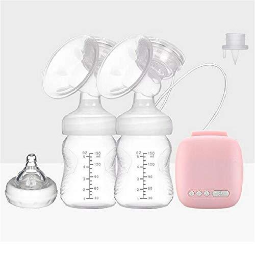 ZSDGY Tiralatte Elettrico bilaterale Rosa/Pompa di aspirazione del Seno/Pompa di siringa Postpartum di Massaggio Automatico di aspirazione