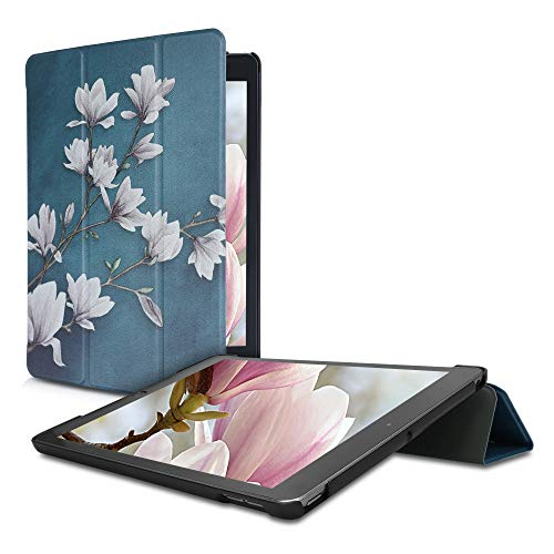 kwmobile Case Compatible with Apple iPad 10.2 (2019/2020-7./8. Gen) - PU Leather Smart Cover Tablet Case with Stand - Magnolias Taupe/White/Blue Grey