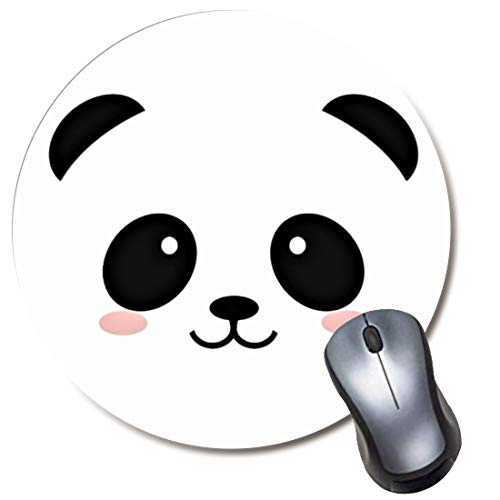 Yaxazepluy - Panda Face Kawaii Mouse Pad, Gaming Round Mousepad for Computer Laptop Non-Slip Rubber Desk Mat,Cute Office Gift(8 Inch)