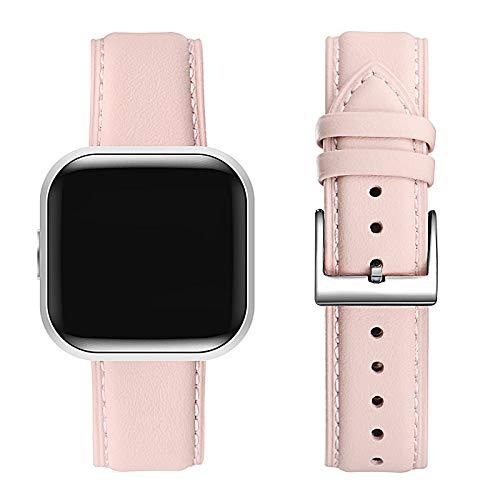 FENGLIN Kompatibel mit Fitbit Versa 2 Armband/Fitbit Versa Armband,Leder Verstellbares Ersatzarmband Kompatibel für Fitbit Versa 2 / Fitbit Versa/Versa SE/Versa Lite(Rosa Sand/Silber)
