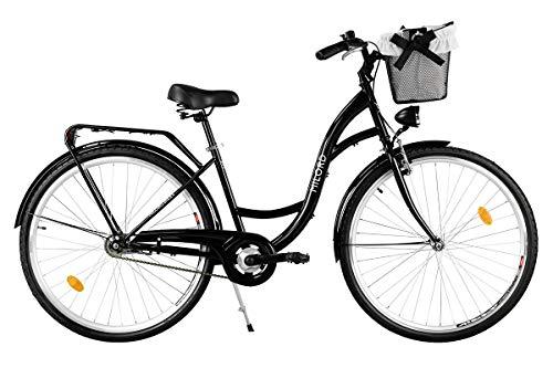Milord. Komfort Fahrrad mit Korb, Hollandrad, Damenfahrrad, 3-Gang, Schwarz, 26 Zoll