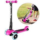Banne Scooter Height Adjustable Lean to Steer Flashing PU Wheels 3 Wheel Kick Scooters for Kids Boys Girls (Black)