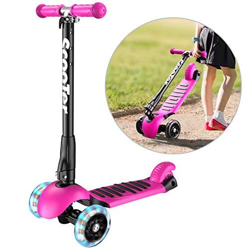 Banne Scooter, Altezza Regolabile Pieghevole Lean a Guidare Lampeggiante Ruote in PU 3 Wheel Kick Scooter per Bambini (Rosa)