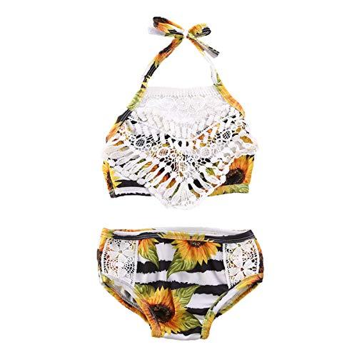Longfei Kleinkind Kinder Baby Mädchen Kleidung Zweiteiliger Badeanzug Floral Bedruckte Spitze Patchwork Halfter Tank + Bad unten Bikini-Anzug (Yellow, 5 Years)
