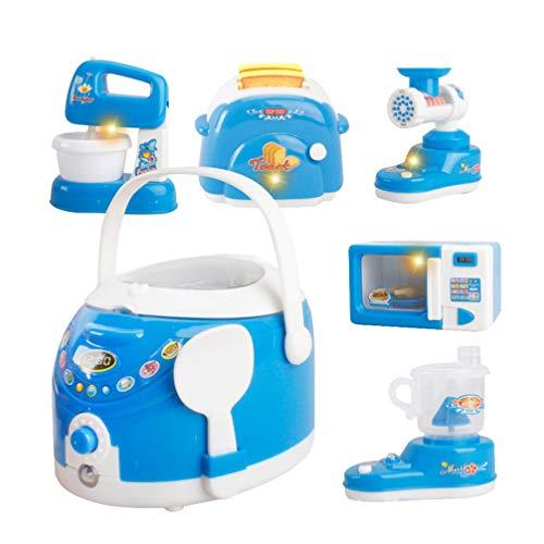 TOYANDONA 6 Piezas de Electrodomésticos de Cocina Juguetes Cocina de Arroz Licuadora Picadora de Carne Máquina de Tostadas Horno de Microondas Exprimidor Cocina de Niños Juegos de Simulación Juguetes