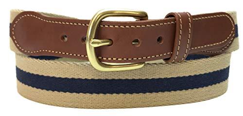Leather Man Ltd Stripe Surcingle Belt Khaki with Navy Stripe