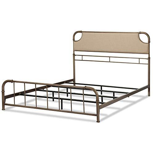 Leggett & Platt Dahlia Metal SNAP Bed with Folding Frame Bedding Support System and Sandstone Upholstered Headboard, Aged Iron Finish, Full