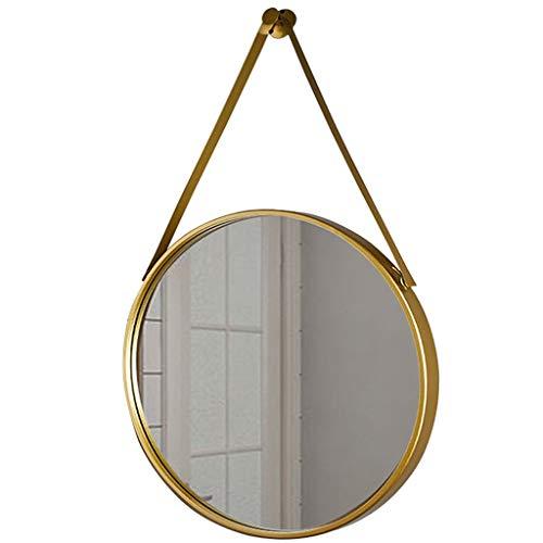 Preisvergleich Produktbild Wandspiegel Hänge-WC Spiegel Badezimmerspiegel Round Shop Dekorative Spiegel Garderobe Kosmetikspiegel Hotel Eingang Spiegel Männer Rasierspiegel (Color : Gold,  Size : 40cm)