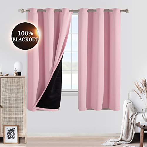 WONTEX 100% Blackout Curtains for Bedroom - Thermal Insulated Window Curtain Panels with Black Liner Backing, Noise Reducing and Sun Blocking Curtains...