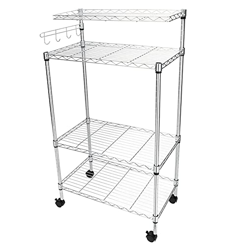 N/Z Home Equipment Shelf Unit Display Rack 4 Layer Adjustable Rolling Kitchen Cart Storage Organizer Bakers Shelf Microwave Oven Stand with Single Wave Pole