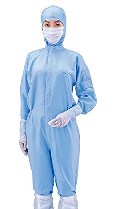 人柄世界記録のギネスブック特定のアズワン 無塵衣AS197C フード付 青 LL /1-7865-04