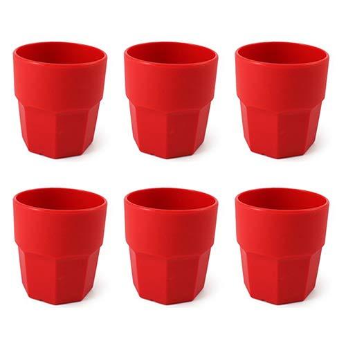 cartaffini – Gobelet en plastique, polypropylène (PP), capacité 25 cl, forme octogonale – Set 6 Pièces – Couleur : Rouge