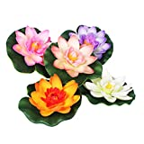 Beaupretty 5 unidades de flores artificiales de imitación de lirio de plástico realista, flor de loto con hojas verdes, decoración para estanque, acuario, piscina